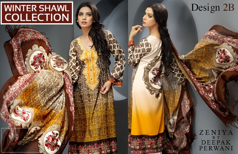 Zeniya by Deepak Perwani Winter Shawl Dresses for Women Collection 2014-15 (3)