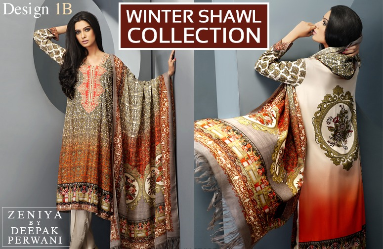 Zeniya by Deepak Perwani Winter Shawl Dresses for Women Collection 2014-15 (4)