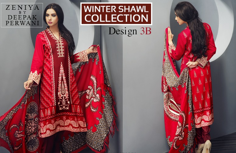 Zeniya by Deepak Perwani Winter Shawl Dresses for Women Collection 2014-15 (5)