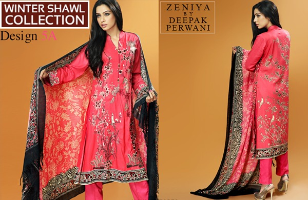 Zeniya by Deepak Perwani Winter Shawl Dresses for Women Collection 2014-15 (6)