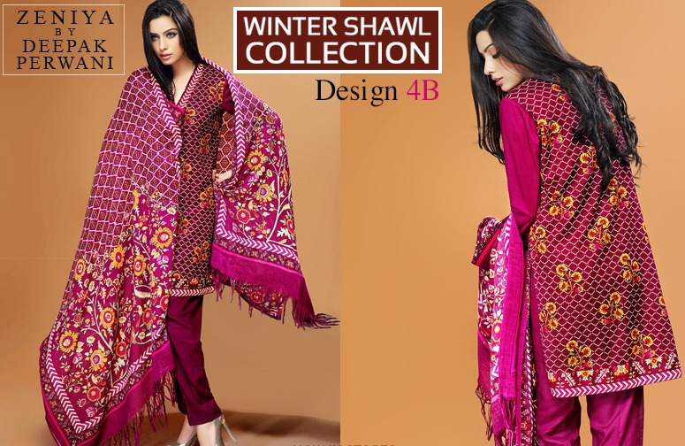 Zeniya by Deepak Perwani Winter Shawl Dresses for Women Collection 2014-15 (7)
