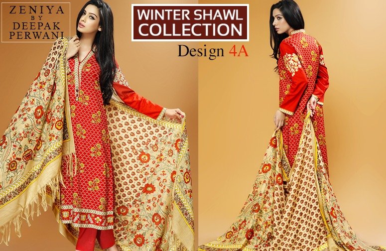 Zeniya by Deepak Perwani Winter Shawl Dresses for Women Collection 2014-15 (8)