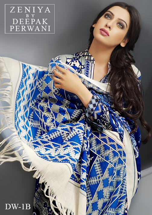 Zeniya by Deepak Perwani Winter Shawl Dresses for Women Collection 2014-15 (9)