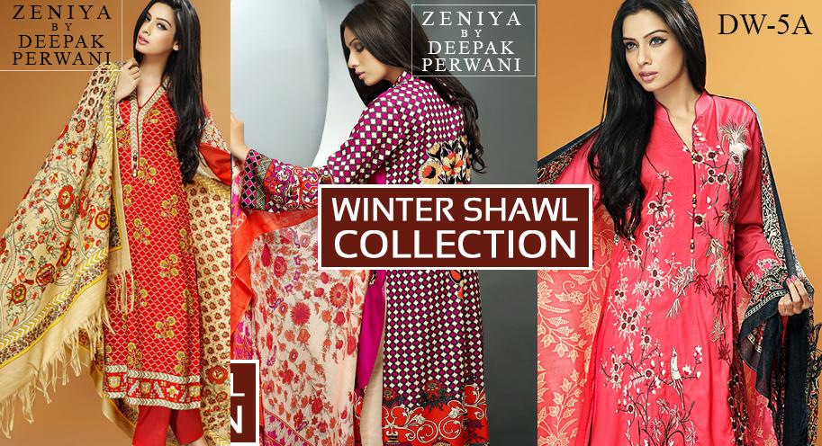 Zeniya by Deepak Perwani Winter Shawl Dresses for Women Collection 2015