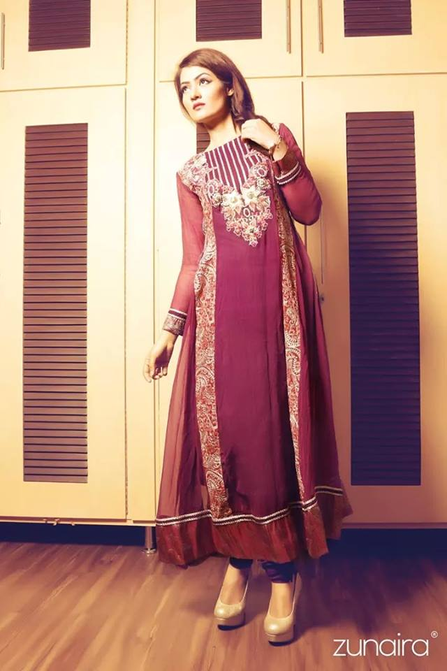 Latest Pakistani Party wear Dresses for Women by Zunaira Lounge Formal Collection 2015-16 (7)
