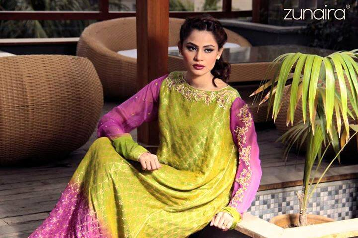 Latest Pakistani Party wear Dresses for Women by Zunaira Lounge Formal Collection 2015-16 (8)