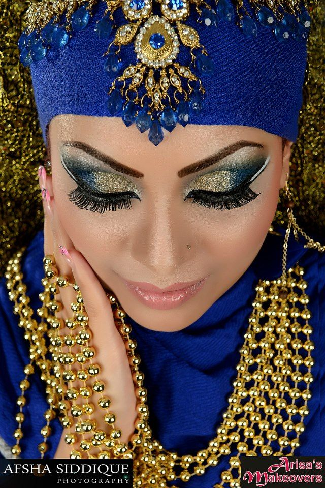 Step by Step Arabic Party Wear & Bridal Eye & Complete Face Makeup Tutorial with Pictures (1)