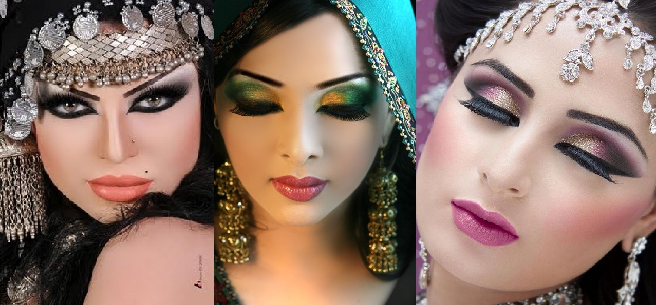 Step by Step Arabic Party Wear & Bridal Eye & Complete Face Makeup Tutorial with Pictures