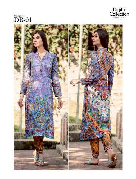 Five Star Textile Mills Latest Summer Collection Digital Printed Lawn Embroidered Dresses 2015  (15)