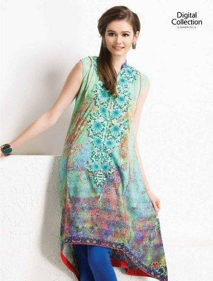 Five Star Textile Mills Latest Summer Collection Digital Printed Lawn Embroidered Dresses 2015  (17)