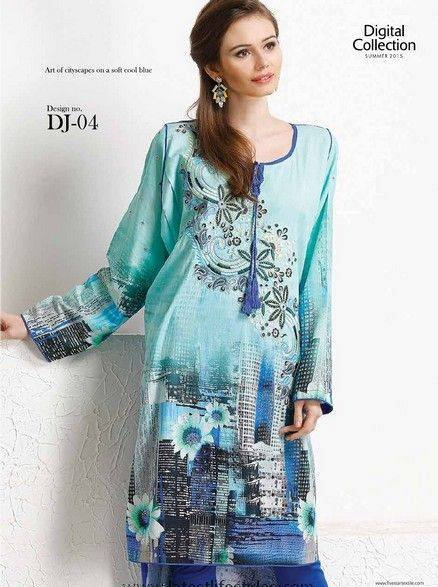 Five Star Textile Mills Latest Summer Collection Digital Printed Lawn Embroidered Dresses 2015 (4)