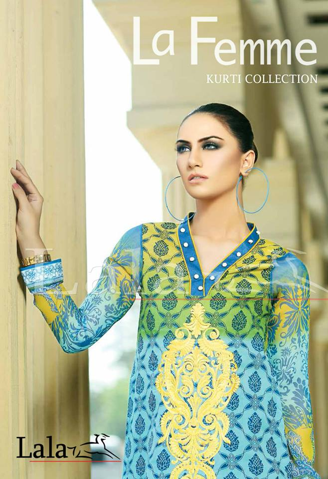 La Femme Kurtis By Lala Textiles Spring Summer Dresses Collection 2015-2016 (9)
