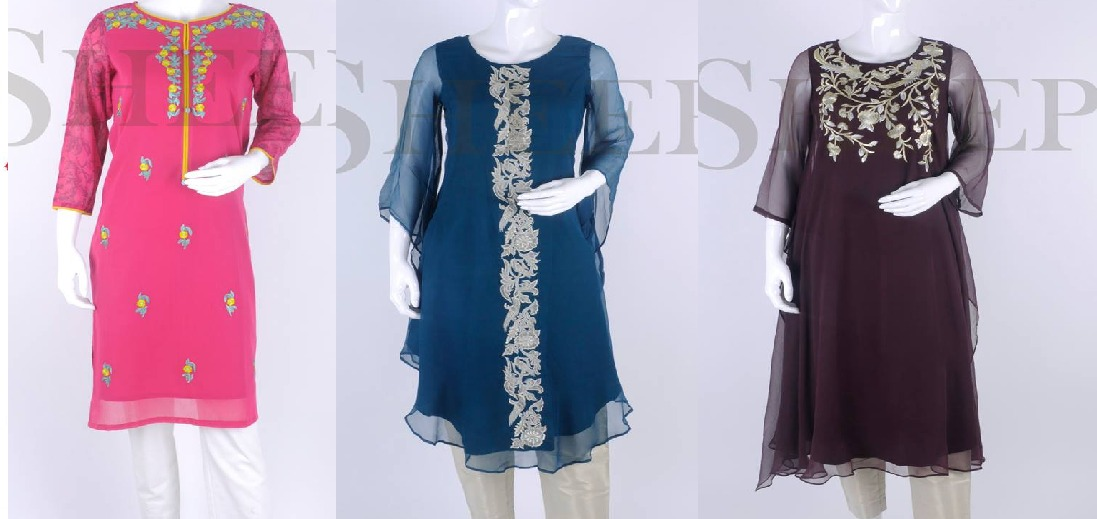 Latest Designs Fancy Embroidered Kurtis Collection for Girls by SHEEP
