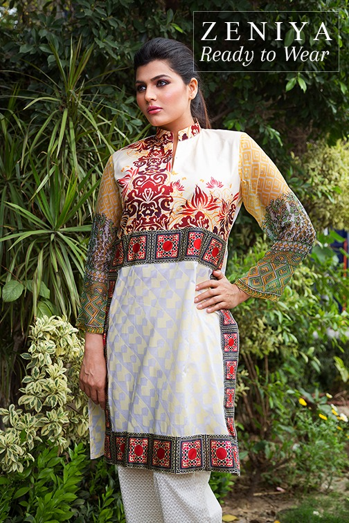 Zeniya Lawn by Deepak Perwani Summer Spring Ready To Wear Dresses Collection 2015 (7)