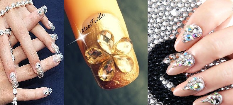 rhinestones nail art designs tutorial step by step
