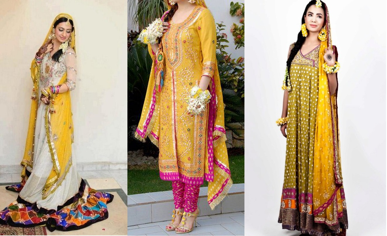 Mehndi Party Dresses 2016 : Latest bridal mehndi dresses collection