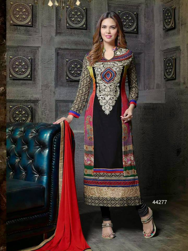 Pakistani & Indian Straight Cut Dresses Collection 2015-2016 (10)