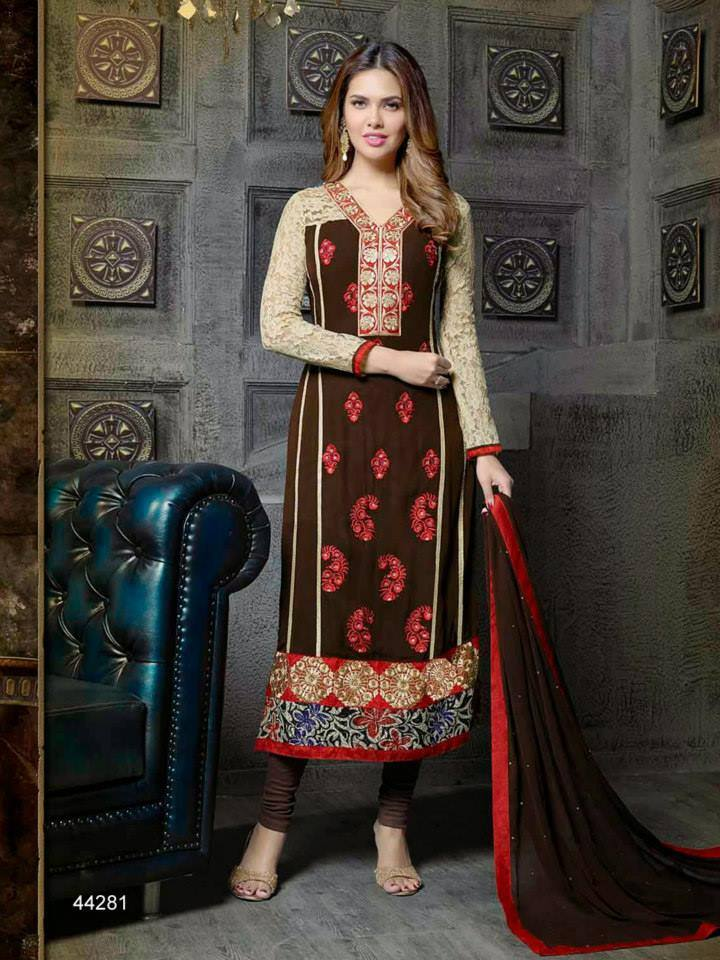 Pakistani & Indian Straight Cut Dresses Collection 2015-2016 (16)