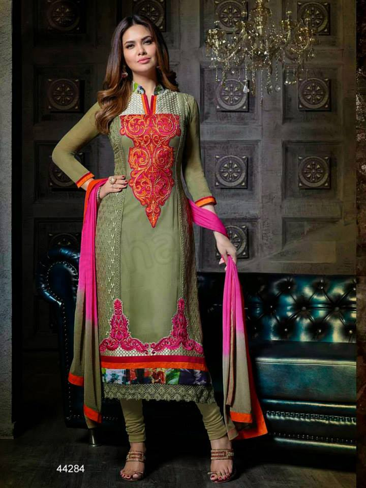 Pakistani & Indian Straight Cut Dresses Collection 2015-2016 (3)