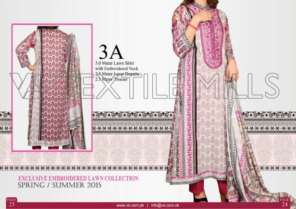 VS Textile Mills Vadiwala Lawn Embroidered Chiffon Collection 2015 (2)