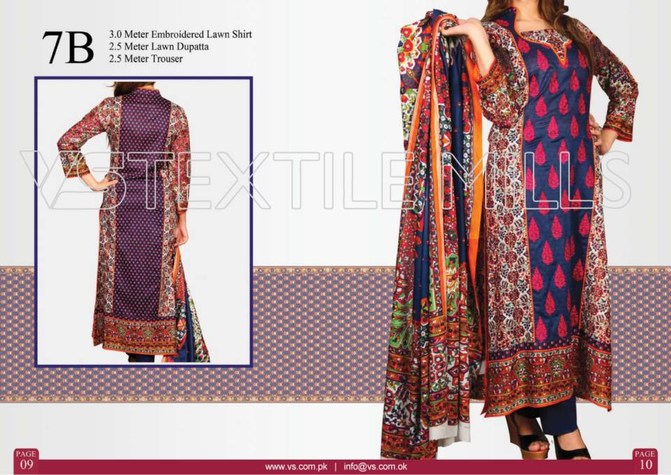 VS Textile Mills Vadiwala Lawn Embroidered Chiffon Collection 2015 (28)