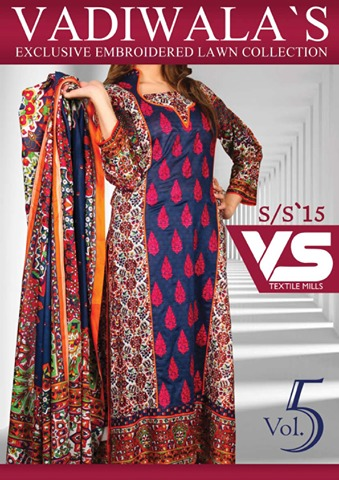VS Textile Mills Vadiwala Lawn Embroidered Chiffon Collection 2015 (4)