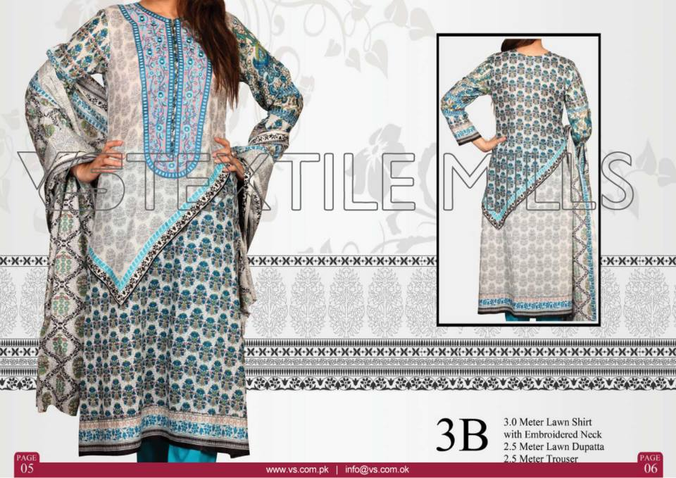 VS Textile Mills Vadiwala Lawn Embroidered Chiffon Collection 2015 (5)