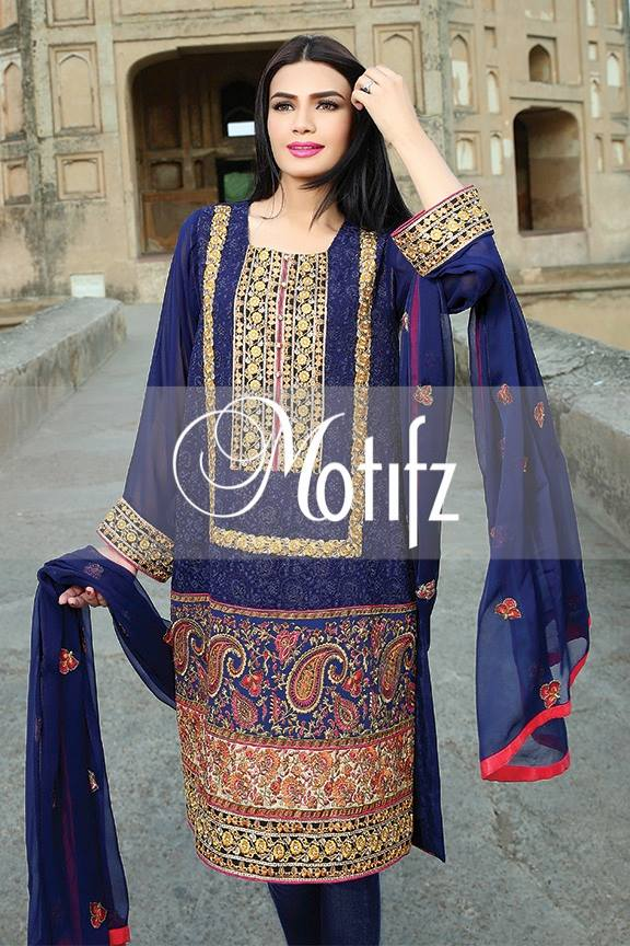 Motifz Embroidered Chiffon Eid Festival Collection 2015 with Prices (2)