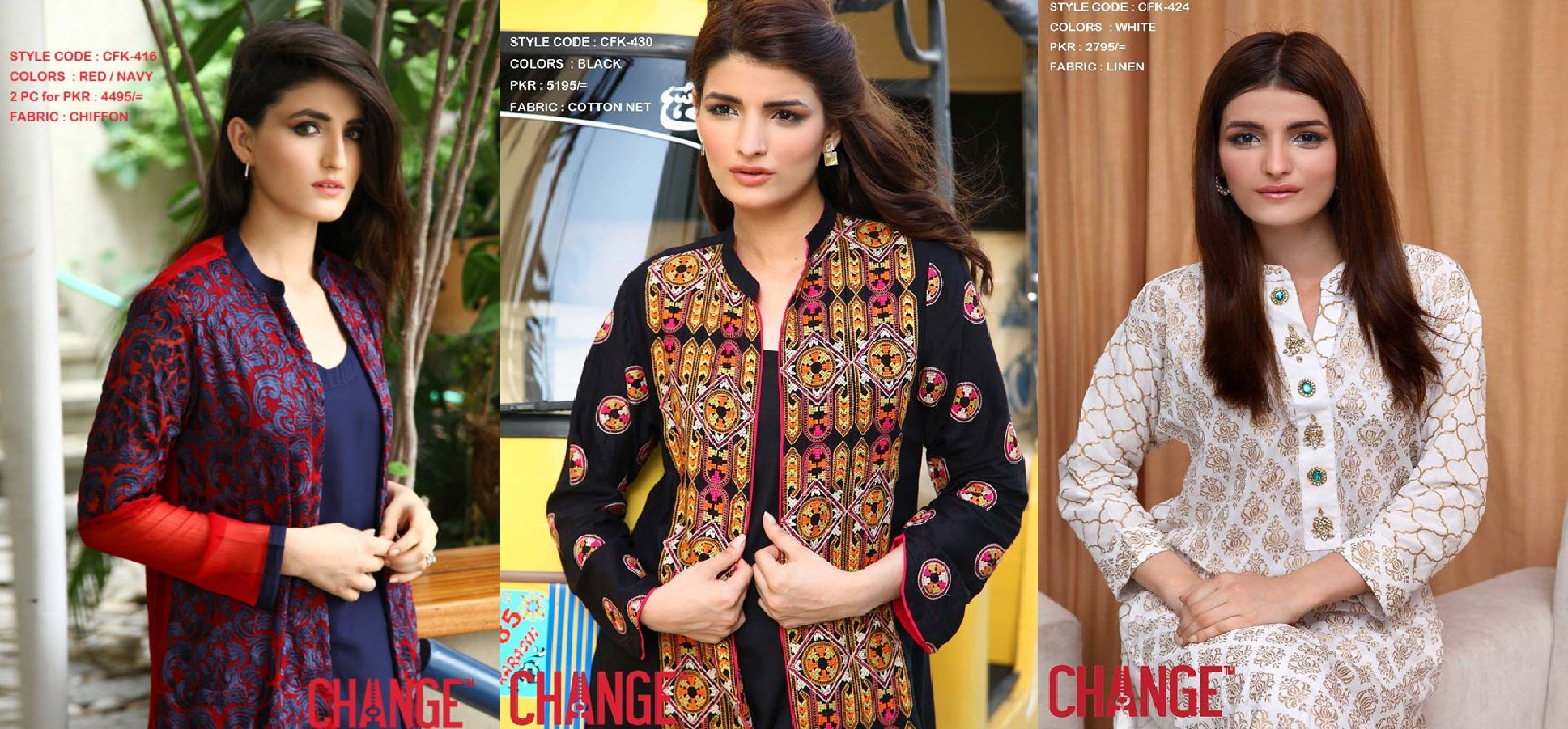Change Kurti Designs 2 Pc Suits Collection 2015 with Prices