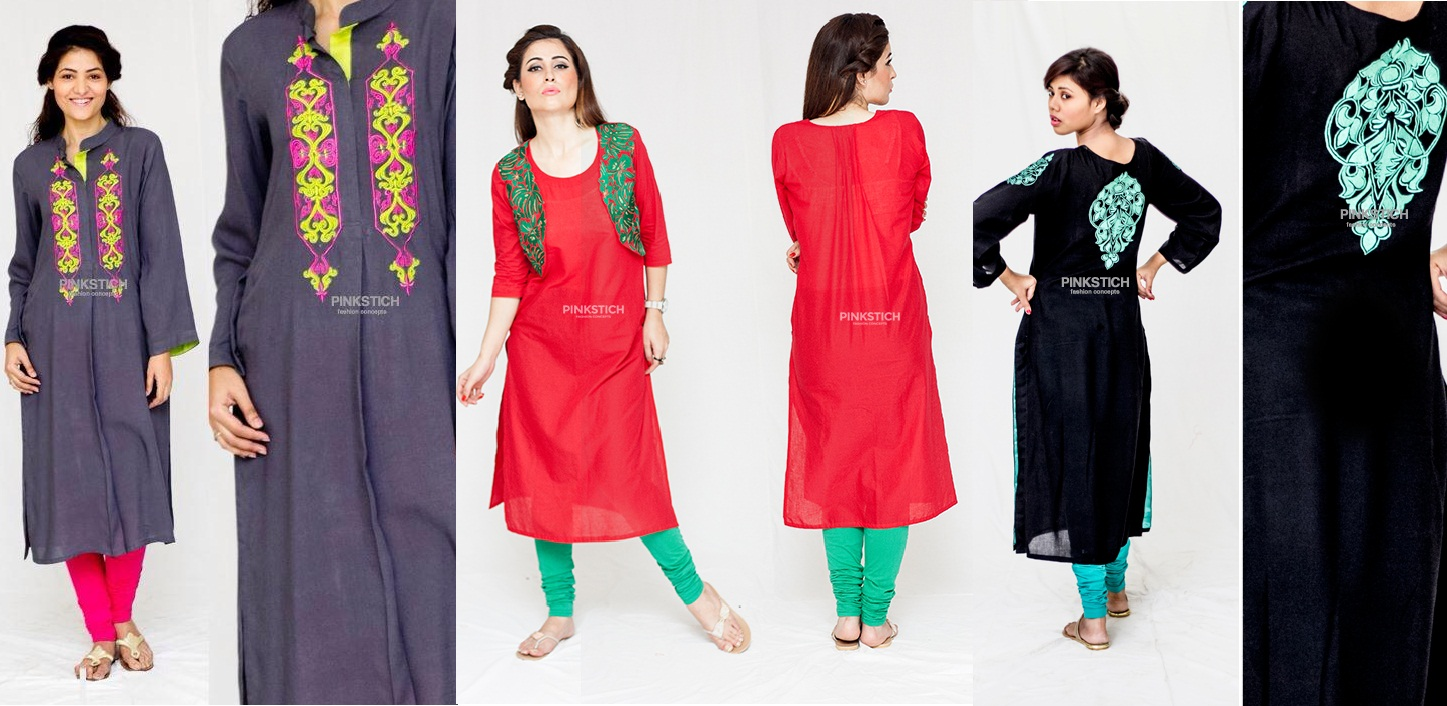 Colorful Stylish Kurta Dresses for Women By Pinkstich Collection 2015-2016