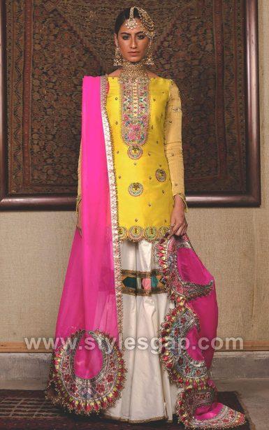 Mehndi Dresses 2018 : Fahad hussayn latest pakistani designer bridal dresses
