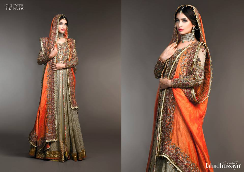 Latest Fahad Hussayn Digital Printed Embroidered Silk Bridal Suits Eid Collection 2015 (11)