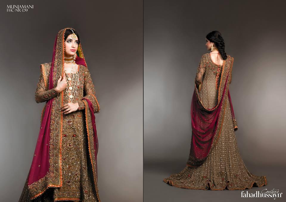 Latest Fahad Hussayn Digital Printed Embroidered Silk Bridal Suits