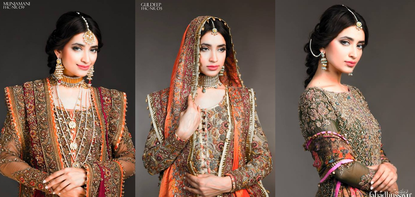 Latest Fahad Hussayn Digital Printed Embroidered Silk Bridal Suits Eid Collection 2015