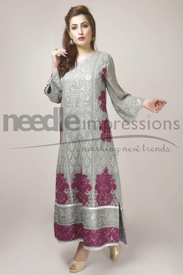 Needle Impressions Latest Fancy Embroidered Chiffon Dresses Collection 2016-2017 (2)