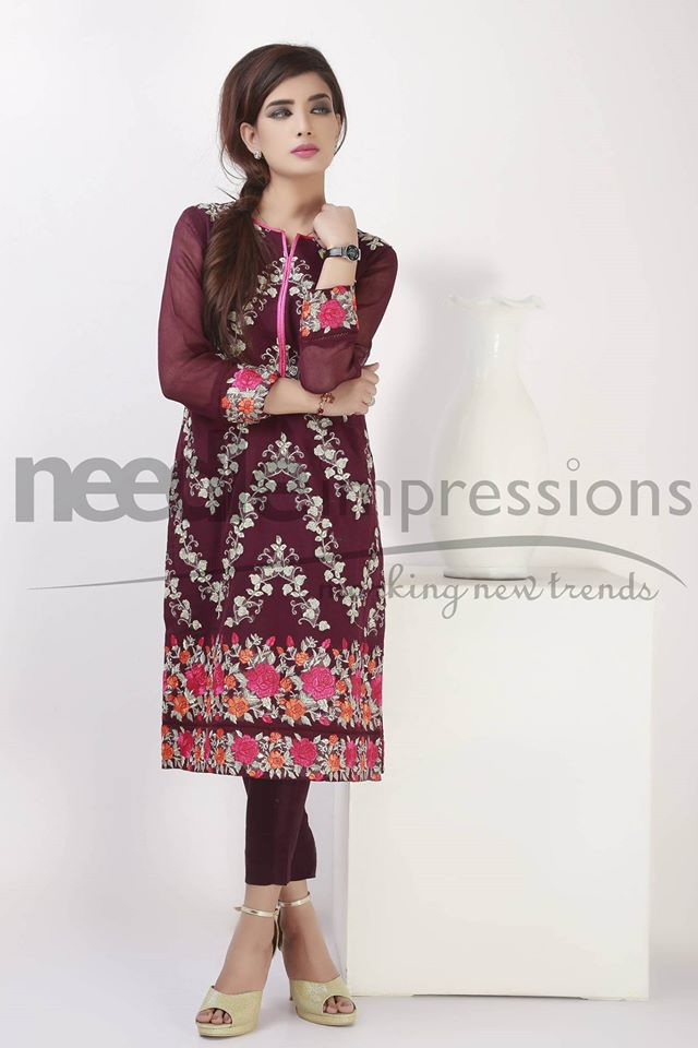Needle Impressions Latest Fancy Embroidered Chiffon Dresses Collection 2016-2017 (26)