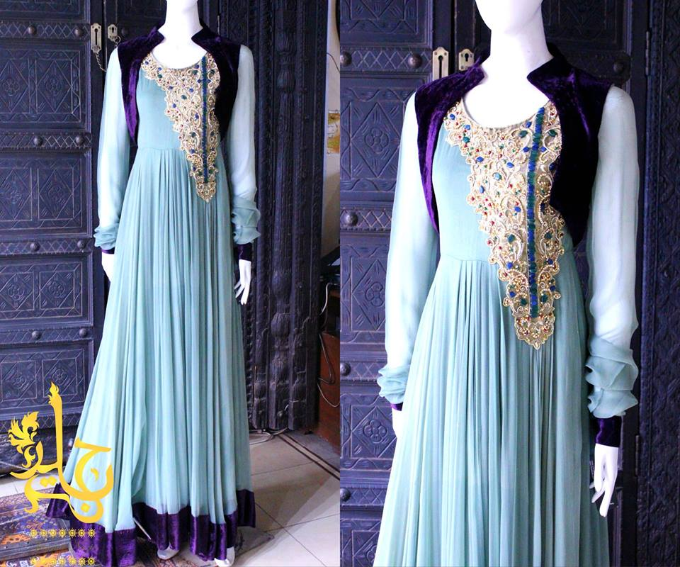 Party Wear Frocks & Gown Designs Latest Collection 2015-2016 (21)