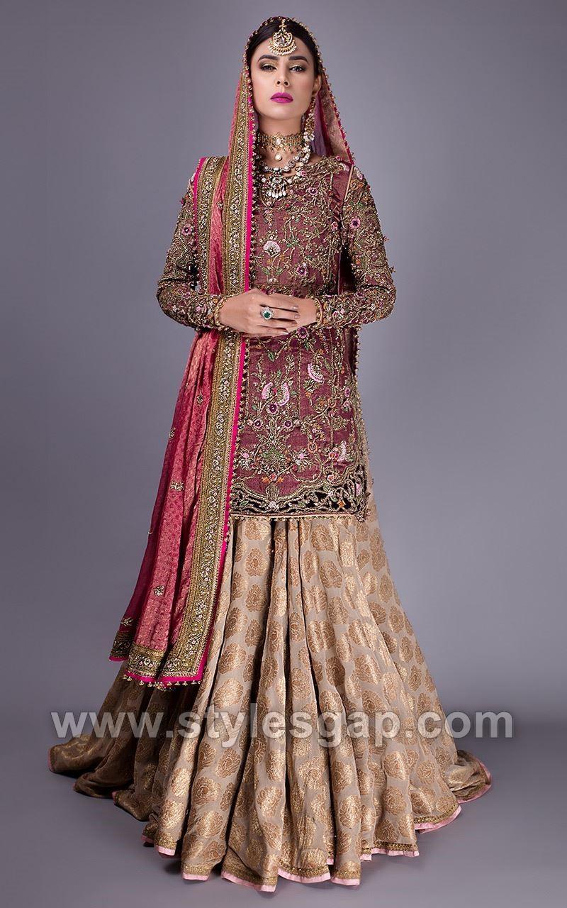 ba4eb85e96 Red shirt banarsi lehenga- Fahad Hussayn Latest Pakistani Designer Bridal  Dresses Collection 2018-19 (2)