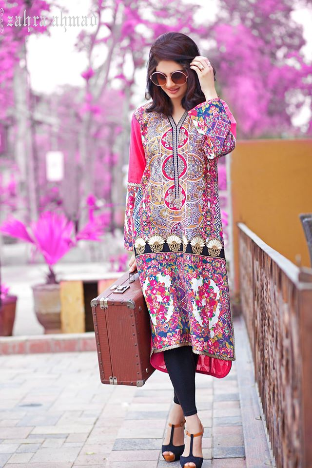 Zahra Ahmed Mystical Printed Shirts Tunics Collection 2015-16 (2)