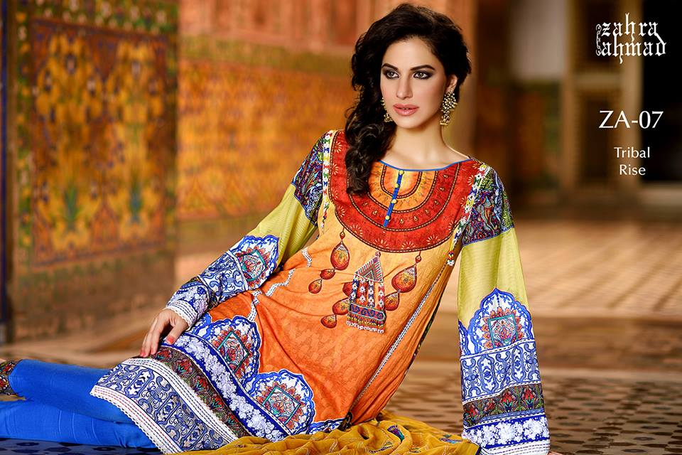Zahra Ahmed Mystical Printed Shirts Tunics Collection 2015-16 (20)