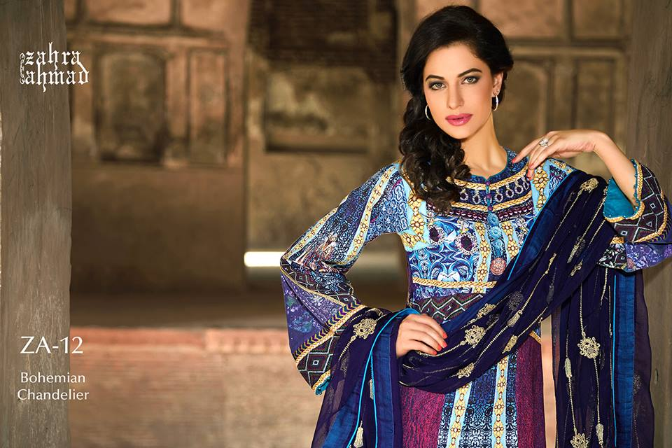 Zahra Ahmed Mystical Printed Shirts Tunics Collection 2015-16 (3)