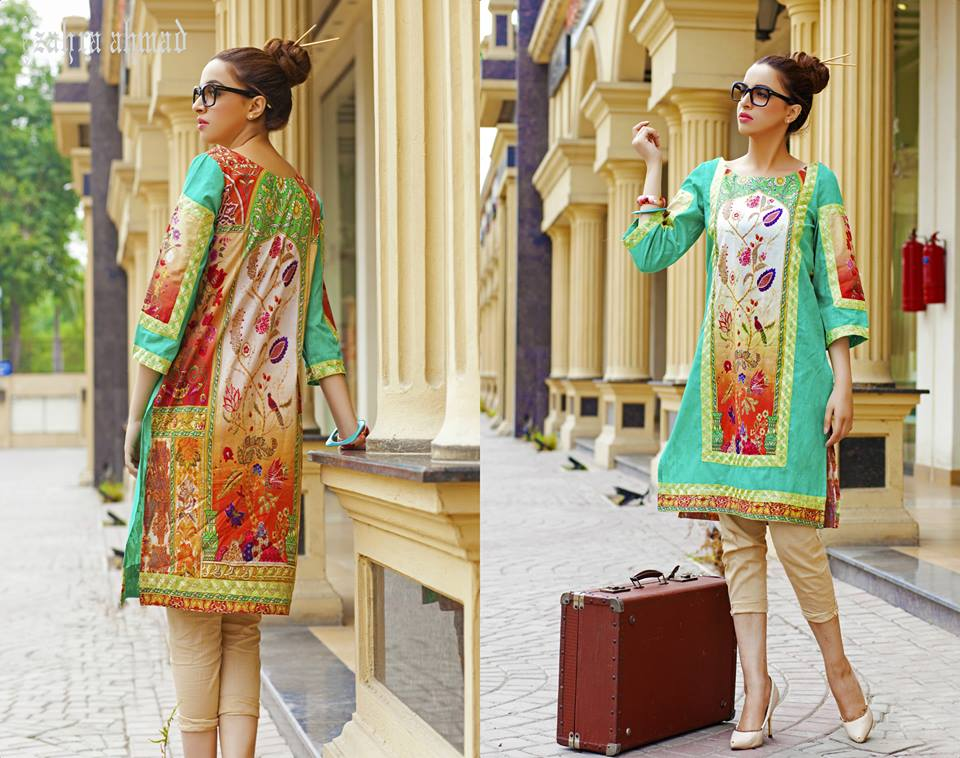 Zahra Ahmed Mystical Printed Shirts Tunics Collection 2015-16 (30)