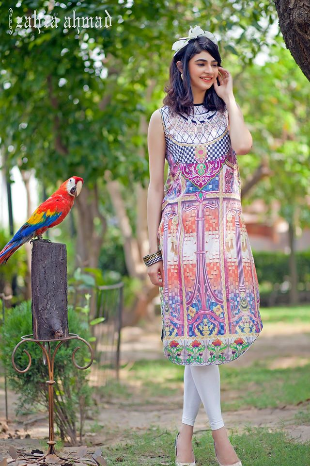 Zahra Ahmed Mystical Printed Shirts Tunics Collection 2015-16 (32)