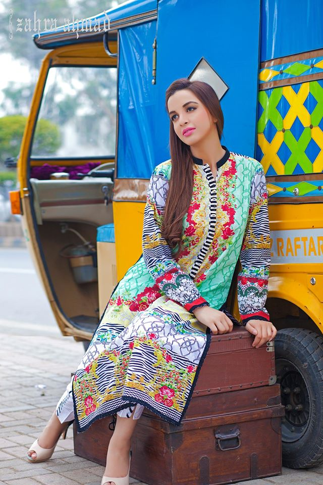 Zahra Ahmed Mystical Printed Shirts Tunics Collection 2015-16 (34)