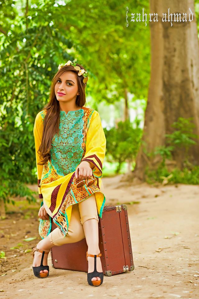 Zahra Ahmed Mystical Printed Shirts Tunics Collection 2015-16 (37)