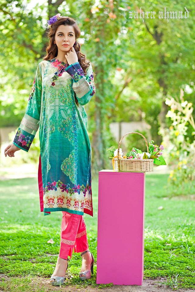 Zahra Ahmed Mystical Printed Shirts Tunics Collection 2015-16 (38)