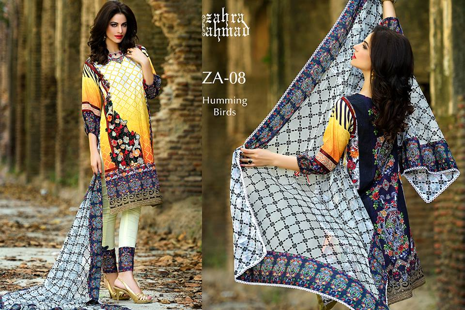 Zahra Ahmed Mystical Printed Shirts Tunics Collection 2015-16 (40)