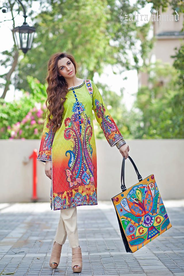 Zahra Ahmed Mystical Printed Shirts Tunics Collection 2015-16 (5)