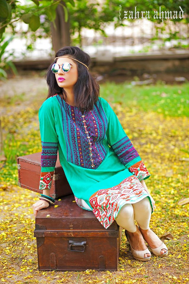 Zahra Ahmed Mystical Printed Shirts Tunics Collection 2015-16 (6)