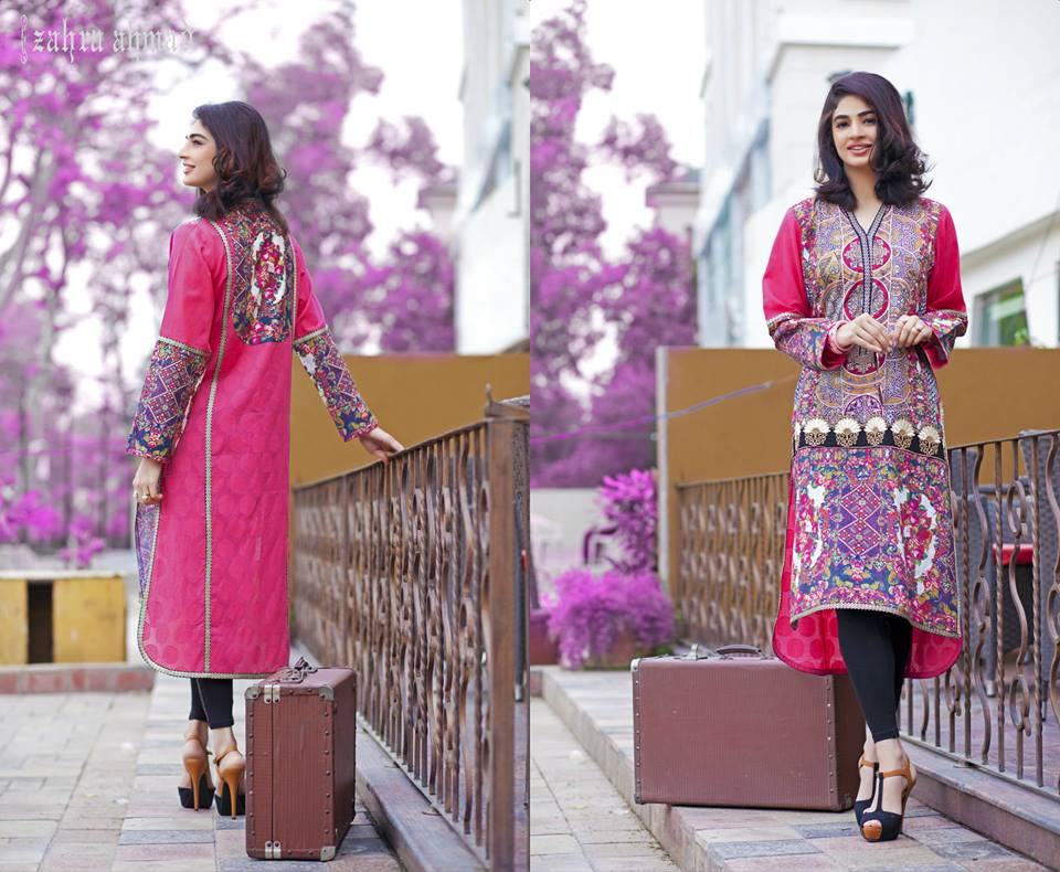 Zahra Ahmed Mystical Printed Shirts Tunics Collection 2015-16 (7)